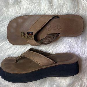 Rainbow brown platform flip flop flops sandals 7